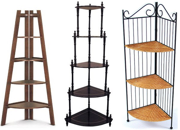 Corner Etageres Pictured Left Poundex Shelf Cuccino Middle Frenchi Furniture Cherry 5 Tier Stand Right 4d Concepts 3
