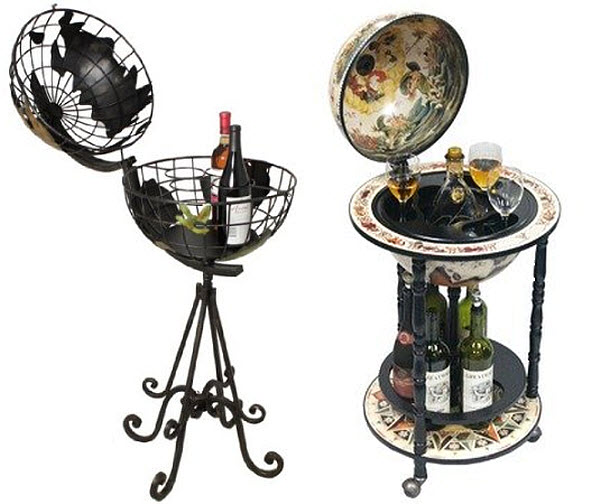 Globe Mini Bars Pictured: Left: Napa Vive Handcrafted Metal Globe Bar Wine  Holder Rack Right: Italian Style 13u2033 Floor Globe Bar White In Old World